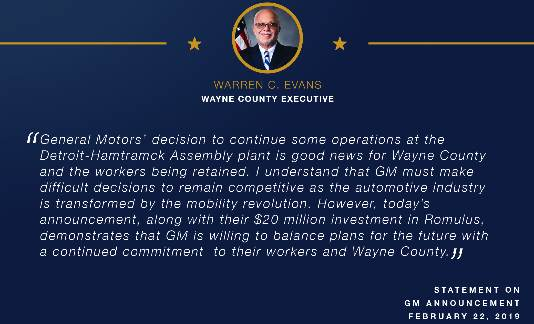 Executive Warren C. Evans Statement On GM's Detroit-Hamtramck Assembly Plant