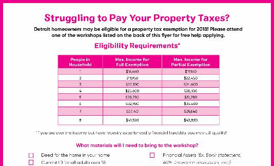 Property Tax Exemption Workshops