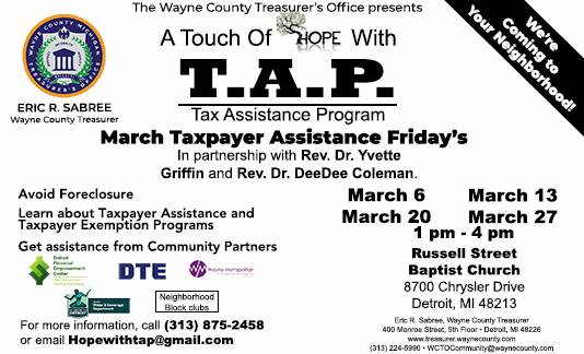 A Touch of Hope with TAP - March Taxpayer Assistance Friday's
