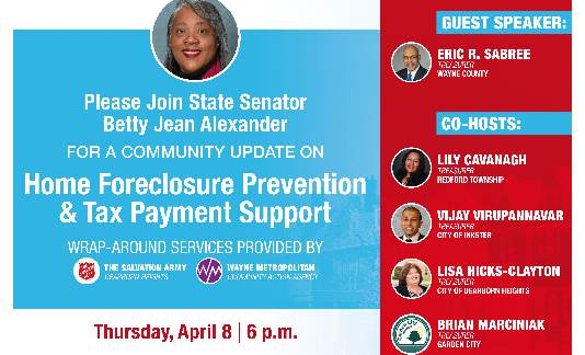 Treasurer Sabree will be a guest speaker on Senator Betty Jean Alexander's Tax Foreclosure Town Hall