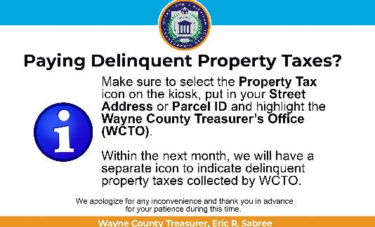 Announcement: Paying Delinquent Property Taxes at a kiosk