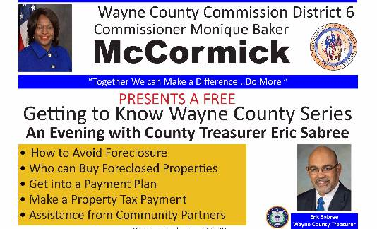 Commissioner Monique Baker McCormick presents An Evening with County Treasurer Eric Sabree