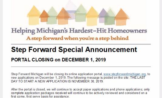 Step Forward Special Announcement - Portal Closing on December 1, 2019